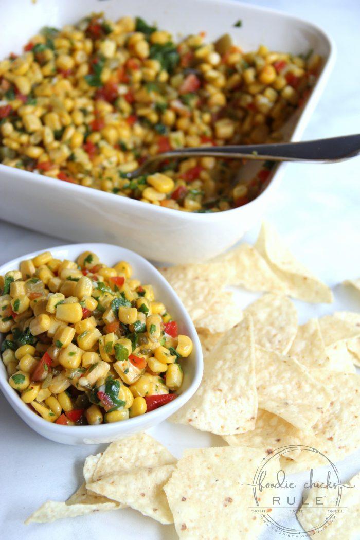 Colorful Corn Salsa Recipe - Simple & Pretty too! foodiechicksrule.com #cornsalsa #colorfulfoods #mexicansides #cornrecipes #salsarecipes