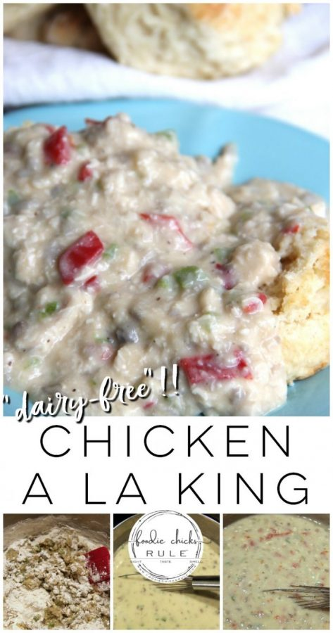Dairy Free Chicken a la King ! (or not, you can sub all kinds of ways with this recipe!) - foodiechicksrule.com #chickenalaking #dairyfree #dairyfreechickenalalking #quickyandeasydinner #quickandeasyrecipe #chickendinner