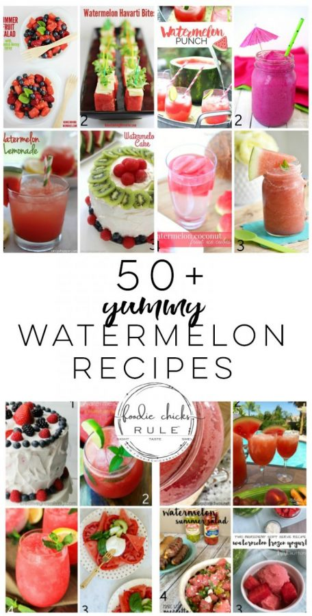 50+ Yummy Watermelon Recipe Ideas!! foodiechicksrule.com #watermelon #watermelonrecipes #summerrecipeideas #smoothierecipes #slushierecipes #summerdesserts #summerdrinks #watermelonmojito #watermeloncake #summerfood #watermelondesserts #watermelondrinks