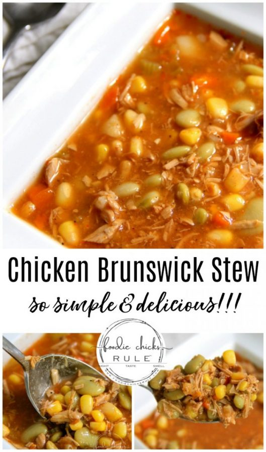 Simple & Delicious Chicken Brunswick Stew! (quick to throw together which is a WIN!) foodiechicksrule.com #chickenbrunswickstew #brunswickstew #chickendinner #chickenrecipes #souprecipes #soup #chickensoup #vegetablesoup #dinnerideas #quickdinners #quickrecipes #easyrecipes #healthydinner