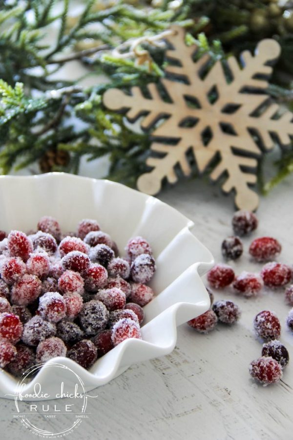 Sugared Cranberries (SO simple and with the added flavoring and spices, make for a delicious treat, either added to a favorite holiday recipe OR by themselves!) foodiechicksrule.com #sugaredcranberries #holidaydesserts #christmasdesserts #holidaydessertideas #cranberrydesserts