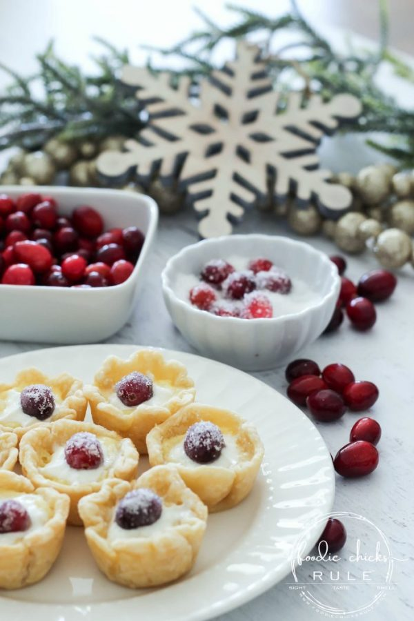 Delicious, festive and adorable SUGARED CRANBERRY CUSTARD TARTS are the perfect dessert to bring to your next holiday gathering, simple to make too! artsychicksrule.com #cranberrydesserts #sugaredcranberry #cranberrycustard #custardtarts #holidaydesserts