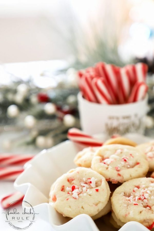 "Crunchy Peppermint Cookies - using crushed peppermint sticks/candy canes and peppermint extract with my very popular ""BEST SHORTBREAD COOKIES EVER"" recipe! foodiechicksrule.com #shortbreadcookies #peppermintcookies #candycanecookies #holidaydesserts #holidaycookies"
