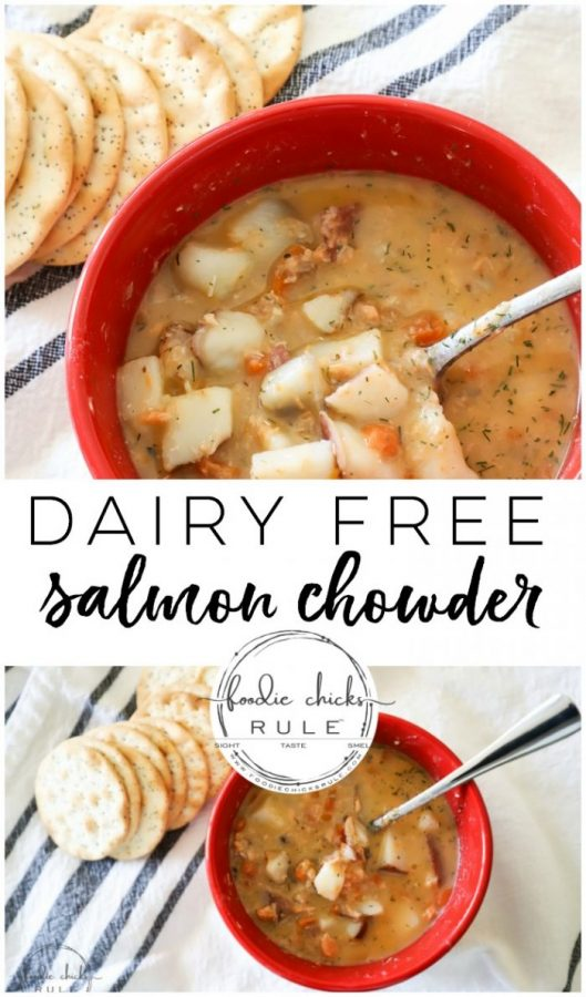 This dairy free salmon chowder is the perfect meal for those cold winter months. Win-win, it's delicious AND simple to throw together! #salmonideas #salmonrecipes #salmonchowder #dairyfree