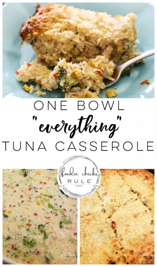 Tuna Rice Casserole- AKA Throw everything you have on hand in a bowl and call it dinner! foodiechicksrule.com #tunacasserole #casserolerecipes #bestcasserole #quickcasserole
