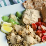 Veggie Greek Pita Bowl (with Tahini dressing!)