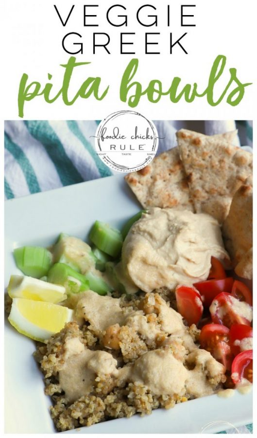 Super easy all veggie, Greek PITA BOWL! So quick to throw together and so tasty with delicious seasonings AND homemade Tahini dressing! foodiechicksrule.com #tahinidressing #pitarecipe #pitabowls #veganpita #veganrecipe #plantbasedrecipe #plantbasedideas