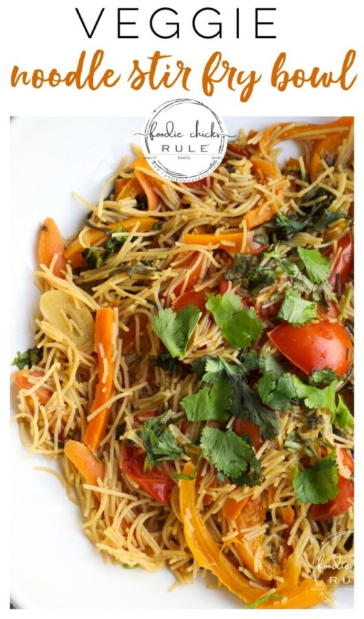 This Veggie Noodle Stir Fry is PLANT BASED for a healthy, and quick, meal option! So fresh and good! foodiechicksrule.com #veggiemeal #plantbased #vegan #noodlestirfry #stirfry #vegandinners #plantbasedideas