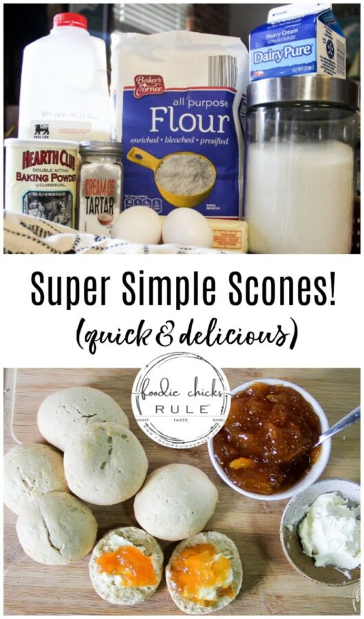 This is it! The simple scone recipe that you have been looking for! Delicious, simple and quick, perfect! foodiechicksrule.com #simplesconerecipe #sconerecipe #scones